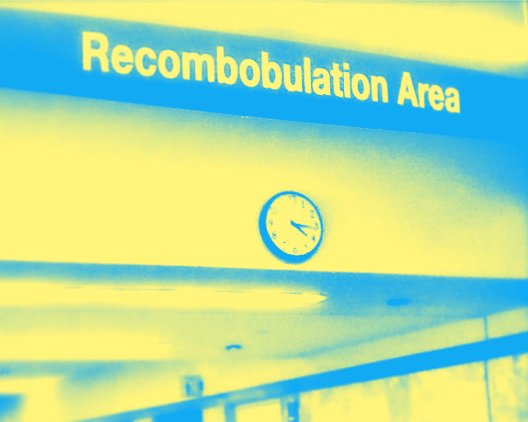 "A blue and yellow version of Milwaukee Airport's ""Recombobulation Area"""